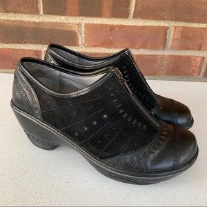 Jambu black leather chunky heel ankle booties